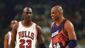 Chicago Bulls Michael Jordan and Phoenix Suns Charles Barkley during the 1993 NBA Finals in Chicago. Photo by Rob Schumacher/The Arizona Republic
