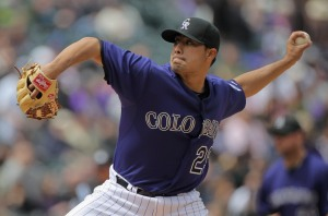 DENVER, CO - APRIL 20: Starting pitcher Jorge De La Rosa #29 of the Colorado Rockies delivers against the San Francisco Giants at Coors Field on April 20, 2011 in Denver, Colorado. (Photo by Doug Pensinger/Getty Images)